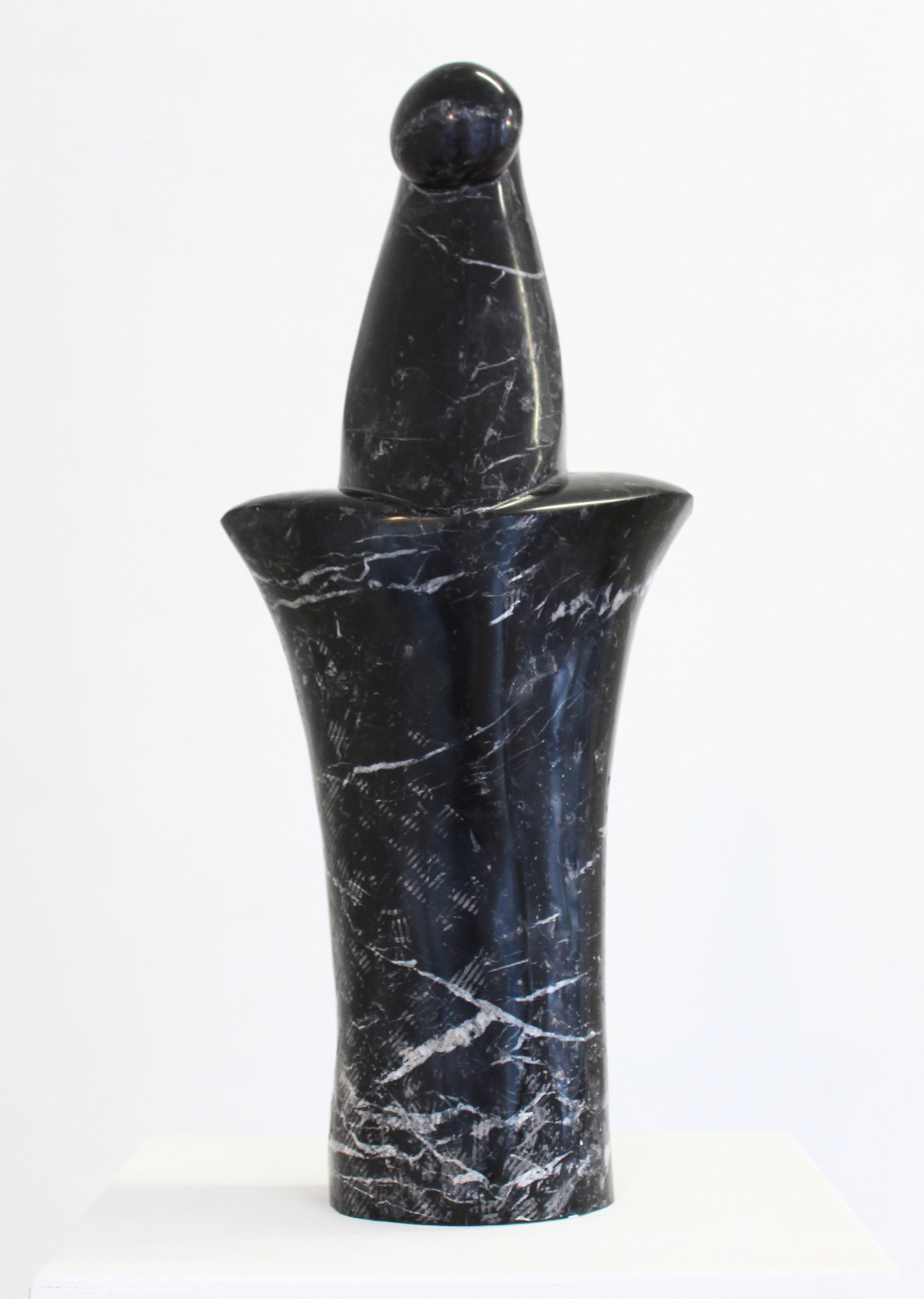 marble sculpture, black marble, male torso